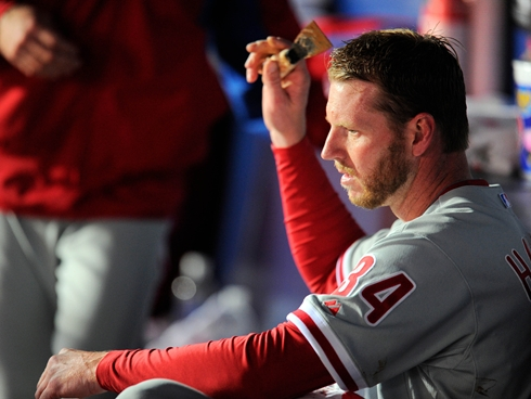 Despite 9 K's (of the 10 recorded outs), Halladay lasted only 3.1, giving up 5 earned