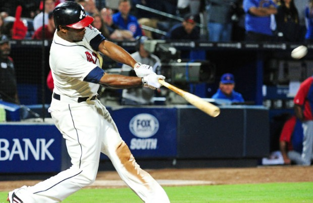 Justin Upton is batting .423, with six home runs and an OPS of 1.641 for the Braves