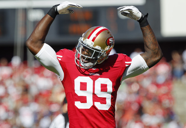 It was going to be hard enough for the 49ers D/ST to be a top-5 unit again in 2014 without Navarro Bowman. Now that Aldon Smith has been suspended for nine games they'll be hard-pressed to crack the top-10 (Brian Bahr/Getty Images North America)