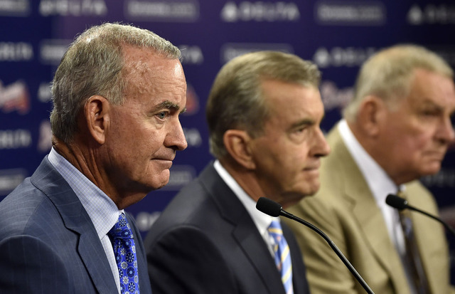 John Hart, John Schuerholz (middle), and Bobby Cox (left) will look to get the Braves back on the right track after announcing the dismissal of former general manager Frank Wren