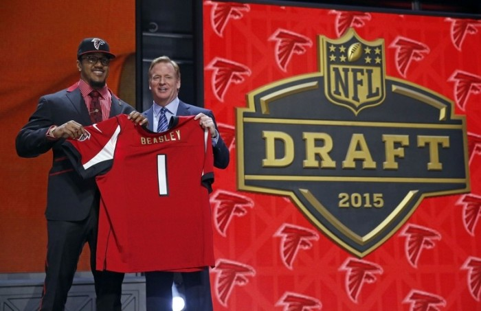 Vic Beasley was taken with the 8th overall pick by the Atlanta Falcons in the 2015 NFL Draft.