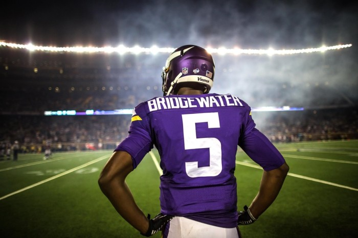 Teddy Bridgewater finished 2014 throwing for 1,440 yards, 10 touchdowns, and a rating of 98.1. If he carries that momentum into 2015 the Vikings are a good bet to see postseason football for the first time since 2012.(Photo/Getty Images)